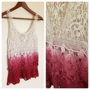 F.A.N.G Dolled Up-Ombré Crochet Tank Top-Size: S